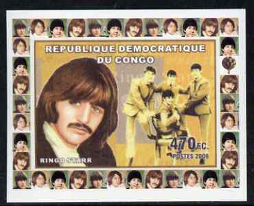 Congo 2006 Beatles #4 - Ringo Starr individual imperf deluxe sheet unmounted mint. Note this item is privately produced and is offered purely on its thematic appeal