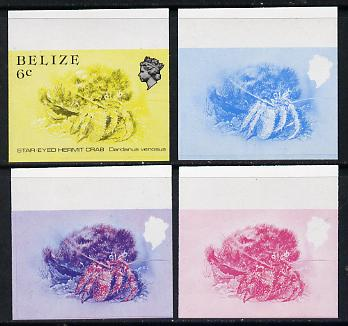 Belize 1984-88 Hermit Crab 6c def imperf progressive marginal proofs in blue, red, red & blue and yellow & black, 4 proofs unmounted mint as SG 771