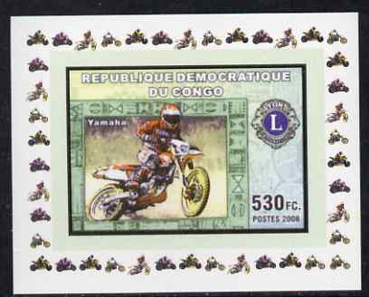 Congo 2006 Motorcycles #1 - Yamaha with Lions Int Logo individual imperf deluxe sheet unmounted mint. Note this item is privately produced and is offered purely on its thematic appeal