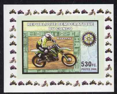 Congo 2006 Motorcycles #3 - Kawasaki & Rotary Logo individual imperf deluxe sheet unmounted mint. Note this item is privately produced and is offered purely on its thematic appeal