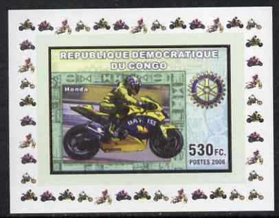 Congo 2006 Motorcycles #4 - Honda & Rotary Logo individual imperf deluxe sheet unmounted mint. Note this item is privately produced and is offered purely on its thematic appeal
