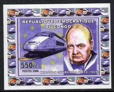 Congo 2006 Statesmen & Trains #1 - Churchill & Modern Train individual imperf deluxe sheet unmounted mint. Note this item is privately produced and is offered purely on its thematic appeal
