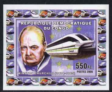 Congo 2006 Statesmen & Trains #2 - Churchill & Modern Train individual imperf deluxe sheet unmounted mint. Note this item is privately produced and is offered purely on its thematic appeal