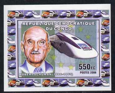 Congo 2006 Statesmen & Trains #4 - Robert Schuman & Modern Train individual imperf deluxe sheet unmounted mint. Note this item is privately produced and is offered purely on its thematic appeal