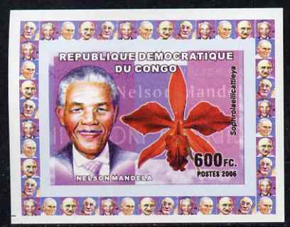 Congo 2006 Humanitarians & Orchids #1 - Nelson Mandela individual imperf deluxe sheet unmounted mint. Note this item is privately produced and is offered purely on its thematic appeal