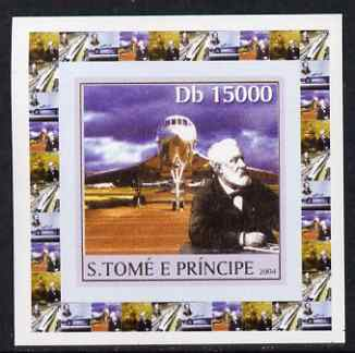 St Thomas & Prince Islands 2004 Jules Verne #1 - With Concorde individual imperf deluxe sheet unmounted mint. Note this item is privately produced and is offered purely on its thematic appeal