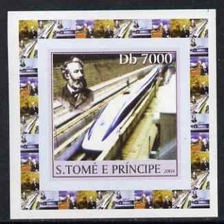 St Thomas & Prince Islands 2004 Jules Verne #3 - With High Speed Train individual imperf deluxe sheet unmounted mint. Note this item is privately produced and is offered purely on its thematic appeal