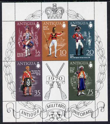 Antigua 1970 Military Uniforms (1st series) perf m/sheet unmounted mint, SG MS 295