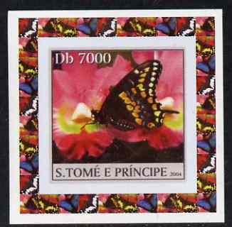 St Thomas & Prince Islands 2004 Butterflies #1 individual imperf deluxe sheet unmounted mint. Note this item is privately produced and is offered purely on its thematic appeal, stamps on butterflies