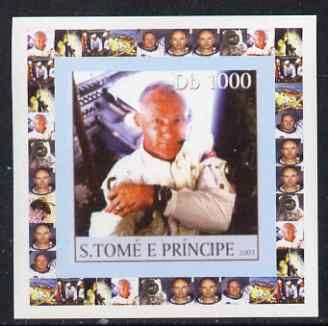St Thomas & Prince Islands 2003 Apollo 11 #4 - Buzz Aldrin individual imperf deluxe sheet unmounted mint. Note this item is privately produced and is offered purely on its thematic appeal