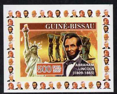 Guinea - Bissau 2007 Humanitarians #4 - Abraham Lincoln & Statue of Liberty individual imperf deluxe sheet unmounted mint. Note this item is privately produced and is off...