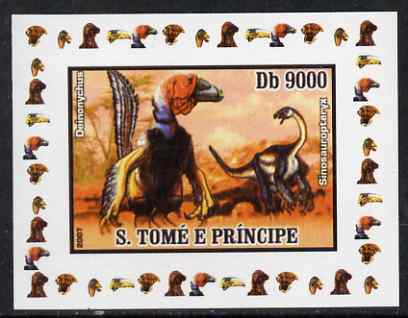 St Thomas & Prince Islands 2007 Dinosaurs #1 individual imperf deluxe sheet unmounted mint. Note this item is privately produced and is offered purely on its thematic appeal