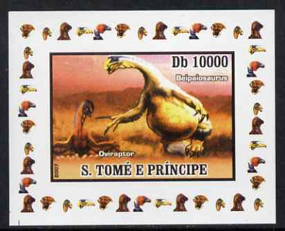 St Thomas & Prince Islands 2007 Dinosaurs #2 individual imperf deluxe sheet unmounted mint. Note this item is privately produced and is offered purely on its thematic appeal