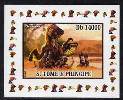 St Thomas & Prince Islands 2007 Dinosaurs #3 individual imperf deluxe sheet unmounted mint. Note this item is privately produced and is offered purely on its thematic appeal