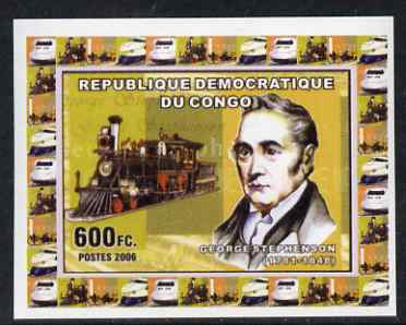 Congo 2006 George Stephenson #2 - With early US Steam Loco individual imperf deluxe sheet unmounted mint. Note this item is privately produced and is offered purely on its thematic appeal