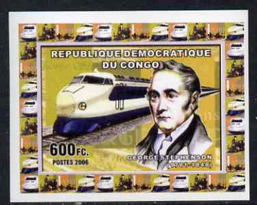 Congo 2006 George Stephenson #3 - With Japanese Bullet Train individual imperf deluxe sheet unmounted mint. Note this item is privately produced and is offered purely on its thematic appeal