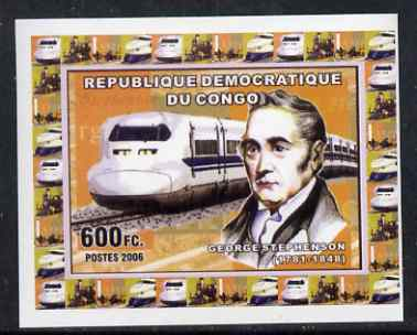 Congo 2006 George Stephenson #4 - With Modern High Speed Train individual imperf deluxe sheet unmounted mint. Note this item is privately produced and is offered purely on its thematic appeal
