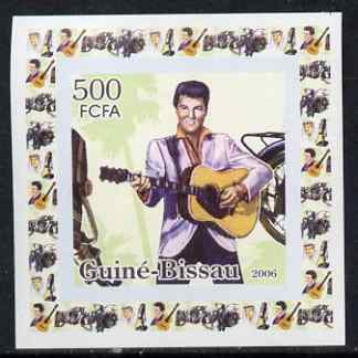 Guinea - Bissau 2006 Elvis Presley #2 - At the Mike with Motorcycle behind individual imperf deluxe sheet unmounted mint. Note this item is privately produced and is offe...