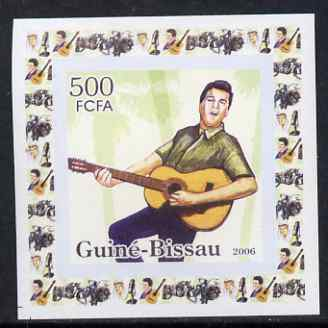 Guinea - Bissau 2006 Elvis Presley #3 - Singing with Guitar behind individual imperf deluxe sheet unmounted mint. Note this item is privately produced and is offered purely on its thematic appeal