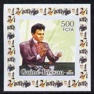 Guinea - Bissau 2006 Elvis Presley #4 - Playing cards behind individual imperf deluxe sheet unmounted mint. Note this item is privately produced and is offered purely on its thematic appeal