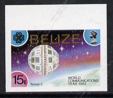 Belize 1983 Communications 15c (Telstar 2) in unmounted mint imperf marginal single (as SG 753)