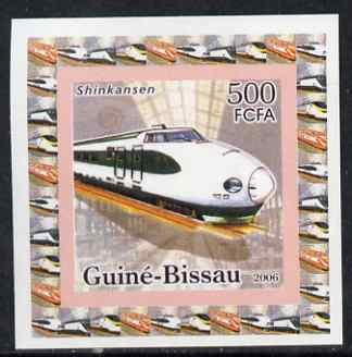 Guinea - Bissau 2006 High Speed Trains #1 - Shinkansen individual imperf deluxe sheet unmounted mint. Note this item is privately produced and is offered purely on its thematic appeal
