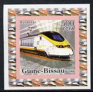 Guinea - Bissau 2006 High Speed Trains #2 - Eurostar individual imperf deluxe sheet unmounted mint. Note this item is privately produced and is offered purely on its thematic appeal