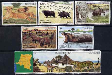 Zaire 1982 Virunga National Park perf set of 7 unmounted mint SG 1120-26, stamps on national parks, stamps on maps, stamps on lions, stamps on cats, stamps on elephants, stamps on buffaloes, stamps on bison, stamps on hippos, stamps on monkeys, stamps on apes