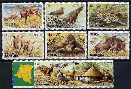 Zaire 1984 Garamba National Park perf set of 8 unmounted mint SG 1172-79