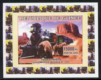 Guinea - Conakry 2006 Steam Trains - Modele No. 107 individual imperf deluxe sheet unmounted mint. Note this item is privately produced and is offered purely on its thematic appeal