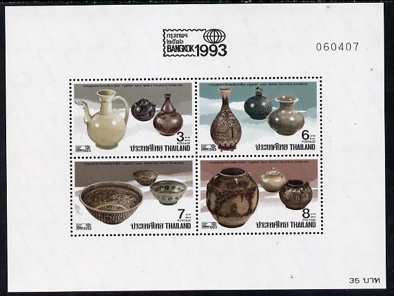 Thailand 1993 'Bangkok 1993' Stamp Exhibition (Pottery) perf m/sheet unmounted mint SG MS 1670