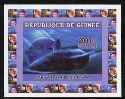 Guinea - Bissau 2006 Submarines #1 - USS Virginia individual imperf deluxe sheet unmounted mint. Note this item is privately produced and is offered purely on its thematic appeal