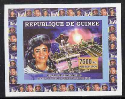 Guinea - Conakry 2006 Space Anniversaries #2 - Claudie Haignere individual imperf deluxe sheet unmounted mint. Note this item is privately produced and is offered purely on its thematic appeal