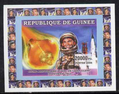 Guinea - Conakry 2006 Space Anniversaries #4 - John Glenn individual imperf deluxe sheet unmounted mint. Note this item is privately produced and is offered purely on its thematic appeal