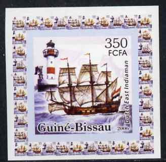 Guinea - Bissau 2006 Ships & Lighthouses #1 - Dutch East Indiaman individual imperf deluxe sheet unmounted mint. Note this item is privately produced and is offered purely on its thematic appeal