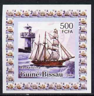 Guinea - Bissau 2006 Ships & Lighthouses #3 - Barkentina individual imperf deluxe sheet unmounted mint. Note this item is privately produced and is offered purely on its thematic appeal