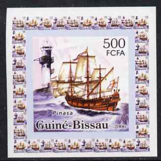 Guinea - Bissau 2006 Ships & Lighthouses #4 - Pinasa individual imperf deluxe sheet unmounted mint. Note this item is privately produced and is offered purely on its thematic appeal, stamps on ships, stamps on lighthouses