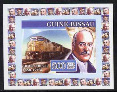 Guinea - Bissau 2007 Inventors #2 - Rudolf Diesel individual imperf deluxe sheet unmounted mint. Note this item is privately produced and is offered purely on its thematic appeal