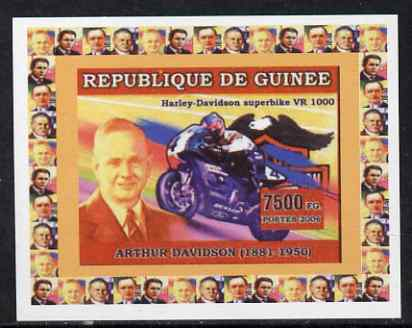 Guinea - Conakry 2006 Harley Davidson Motorcycles #2 - Arthur Davidson individual imperf deluxe sheet unmounted mint. Note this item is privately produced and is offered purely on its thematic appeal
