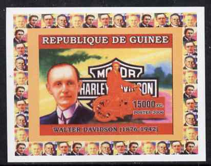 Guinea - Conakry 2006 Harley Davidson Motorcycles #3 - Walter Davidson individual imperf deluxe sheet unmounted mint. Note this item is privately produced and is offered purely on its thematic appeal