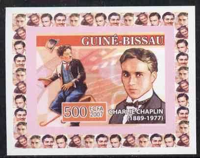 Guinea - Bissau 2007 Cinema Stars #2 - Charlie Chaplin individual imperf deluxe sheet unmounted mint. Note this item is privately produced and is offered purely on its thematic appeal
