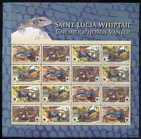 St Lucia 2008 WWF - Whiptail Lizard perf sheetlet containing 16 values (4 se-tenant strips of 4) unmounted mint