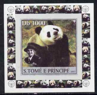 St Thomas & Prince Islands 2003 Pandas (with Lady Baden-Powell) #1 individual imperf deluxe sheet unmounted mint as Mi 2148