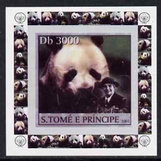 St Thomas & Prince Islands 2003 Pandas (with Lady Baden-Powell) #3 individual imperf deluxe sheet unmounted mint as Mi 2150
