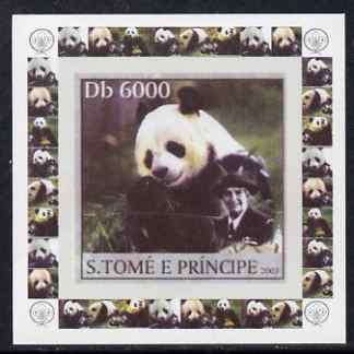 St Thomas & Prince Islands 2003 Pandas (with Lady Baden-Powell) #5 individual imperf deluxe sheet unmounted mint as Mi 2152