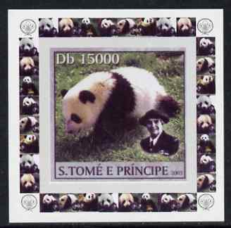 St Thomas & Prince Islands 2003 Pandas (with Lady Baden-Powell) #6 individual imperf deluxe sheet unmounted mint as Mi 2153, stamps on scouts, stamps on animals, stamps on bears, stamps on pandas