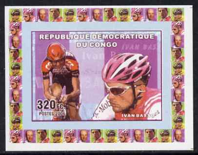 Congo 2006 Famous Cyclists #1 - Ivan Basso individual imperf deluxe sheet unmounted mint