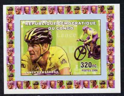 Congo 2006 Famous Cyclists #2 - Lance Armstrong individual imperf deluxe sheet unmounted mint