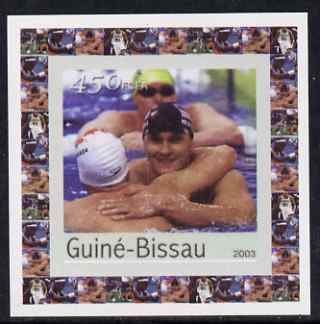 Guinea - Bissau 2003 Athens Olympic Games #3 - Swimming individual imperf deluxe sheet unmounted mint as Mi 2066
