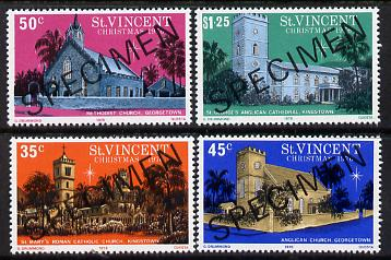 St Vincent 1976 Christmas set of 4 (Churches) opt'd Specimen unmounted mint, as SG 494-97
